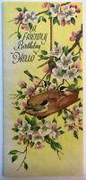 Vintage Greeting Card Birds Bird Feeder Flowers Tree Rust Craft Birthday Yellow