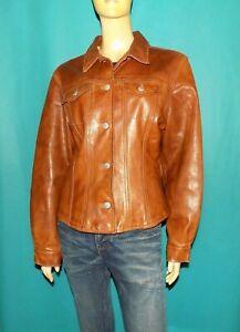 veste vintage CHEVIGNON girl cintré en cuir vachette marron taille L