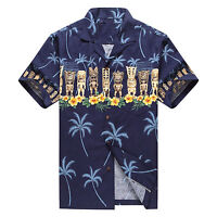 Made in Hawaii Men Hawaiian Aloha Shirt Luau Beach Cruise Party Blue Navy Tiki