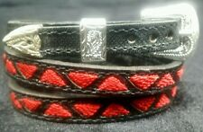 NEW HATBAND BLACK Leather w RED TRIANGLE Embroidery & Buckle Set Cowboy Hat Band