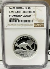 2015 Australia $1 Kangaroo High Relief 1 oz Silver Proof Coin - NGC PF 70 UCAM