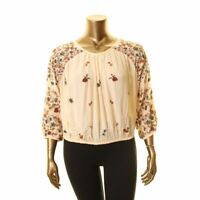 FREE PEOPLE Women's Wild Flowers Embroidered Blouse Shirt Top TEDO