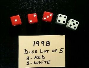 Risk DICE 1998 Lot of 5 ORIGINAL RED & WHITE DICE Game Replacement Pieces Free S