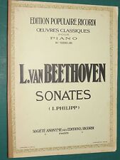 partition Piano Sonates Beethoven RICORDI vol. 4 Op. 79, 81, 90, 106, 109, 110,
