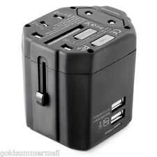 Universal Multifunctional Travel Adapter Dual USB Charger 100 - 240V AC