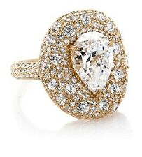 """Daniel K Sterling 4.56ct Absolute Pear & Pave Round """"Water Lily"""" Vermeil Ring 6"""