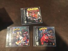 Crash Bandicoot 1, 2, 3(Sony PlayStation 1, 1996, 1997, 1998) Complete Free Ship
