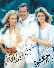 ROGER MOORE & MARY STAVIN & CAROLE ASHBY SIGNED 8x10 JAMES BOND 007 PHOTO - UACC