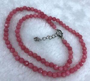 4mm pink Faceted Rhodochrosite Gemstone Round Fine Fashion Necklace 16-24''