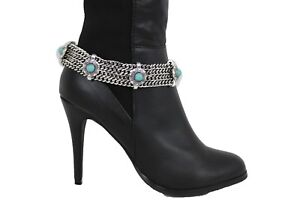 Women Boot Bracelet Vintage Silver Metal Chain Shoe Turquoise Blue Beads Charms