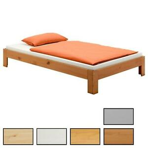 Futonbett Einzelbett Doppelbett Holzbett Bettgestell Kiefer massiv versch Farben