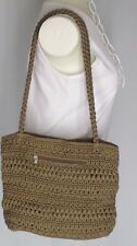 Crochet Shoulder Bag  Solid Taupe Brown Double Braided Straps Croft Barrow