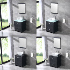 "24"" Black Bathroom Single Vanity Cabinet w/ Ceramic Vessel Sink Set & Mirror NEW"