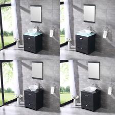 "24"" Black Bathroom Single Vanity Cabinet w/ Ceramic Vessel Sink Set & Mirror New"