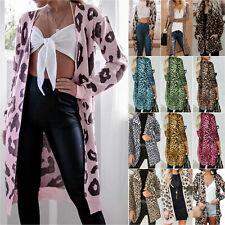 Womens Open Front Cardigan Leopard Print Winter Long Sleeve Outwear Coats Jacket