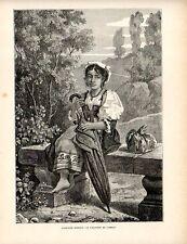Stampa antica CAMPAGNA DI ROMA Ragazza con ombrello 1891 Old print Engraving
