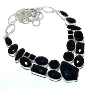 "Black Onyx - Brazil 925 Sterling Silver Jewelry Handmade Necklace 17.99"" T8691"
