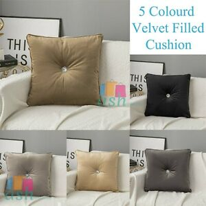 New 5 Colourd Velvet Filled Cushion Luxury Diamante Bedroom Sofa Cushions Covers