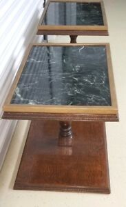 ART DECO Green Marble End Tables One-of-a-Kind PAIR Demode Barnett Bank Building