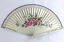 Vintage Hand Painted Fan 2 Sided Flamenco Style Floral