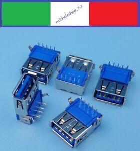 connettore a saldare USB 3.0 tipo A femmina 2 fissaggi verticale 9pin 90°