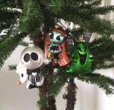 DISNEY PARKS NIGHTMARE BEFORE CHRISTMAS GLASS ORNAMENT SET JACK, SALLY & OOGIE