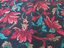 Hoffman cotton fabric Red on black floral w/ teal gold BTHY half yard cut