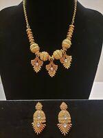 Vintage Ornate/Ethnic/Boho/Textured Gold Tone Bib Statement Choker/Earrings