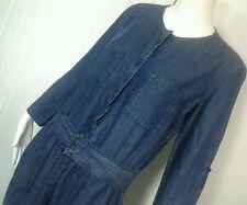 Ann Taylor Loft Jumpsuit Romper Sz 14 Blue Chambray Linen Blend