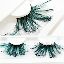 Stylish Green Feather Party Stage Long Curly Thick False Eyelashes Eye Lashes