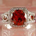 Wedding Garnet White Topaz Gemstone Silver Fashion Women Ring Size 7 8 9 10 Gift