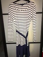 Tommy Hilfiger Women's Stripped Dress Blue And White Size Medium