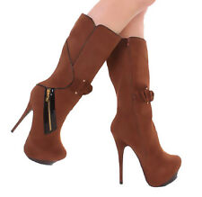 Nw Brown KNEE HIGH heel Hidden Platform Faux Leather suede Zipper BOOTS Size 8