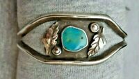 VTG. OLD PAWN NAVAJO STERLING SILVER & TURQUOISE CUFF BRACELET