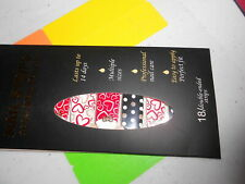 Nail Polish Strips (new) Rarity HEARTS & DOTS (RED, WHITE & BLACK)
