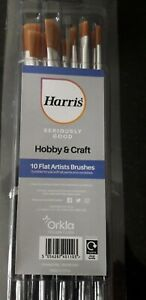 10 x Harris Seriously Good Hobby Craft Painting Artist Flat Paint Brushes Set