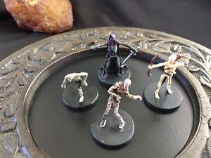 D&D Miniature Lot Of 4 Undead. Mummy, Ghoul, Direguard, Skeletal Archer
