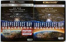 INDEPENDENCE DAY RESURGENCE 4K ULTRA HD UHD BLU RAY 2 DISC SET + SLIPCOVER SLEEV
