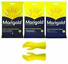 Marigold Rubber Gloves Yellow Rubber Latex Lined Small, Medium, Large