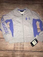 Under Armour 4 6 French Terry True Grey Heather Zip Up Bomber Jacket Sweatshirt