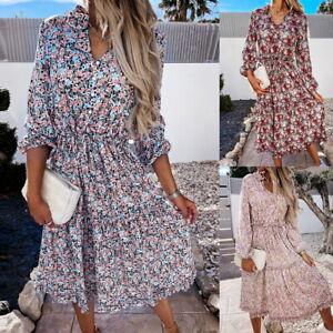 Women Summer Boho Floral Long Sleeve Dress Holiday Party Beach Mid-Length Dress