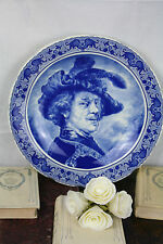 Large BOCH belgium Pottery plate in delft blue white marked after Rembrandt