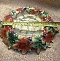 """Fitz and Floyd Classics Autumn Leaves Purple Red Plate Candle Holder Lattice 8"""""""