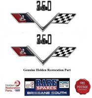 PAIR (2) HOLDEN HT HG 350 CHEV V8 ENGINE SIZE GUARD OR BOOT BADGE MONARO GTS
