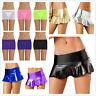 Sexy Women Leather Mini Skirt Bodycon Mesh Party Micro Dress Clubwear Nightwear