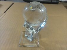 Crystal Globe Continents / Oceans Name Etched On Crystal w/ Stand - 2 Pcs.