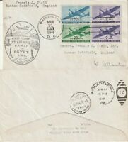 US 1946 TWA FAM 27 FIRST FLIGHT FLOWN COVER WASHINGTON DC TO CAIRO EGYPT