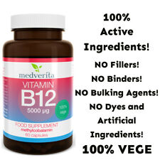 Vitamin B12 5000mcg 60 caps Vegetarian capsules + Prebiotic Inulin NO FILLERS
