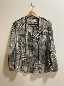Ann Taylor Loft Grey Animal Print Pussybow Blouse Olivia Palermo