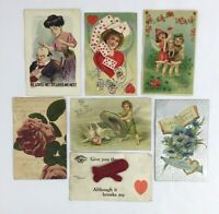 Lot of 7 Antique Valentines Day Postcards 1906 - 1910